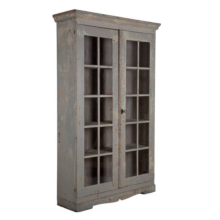 Late Gustavian glazed bookcase, scraped back to early paint.
