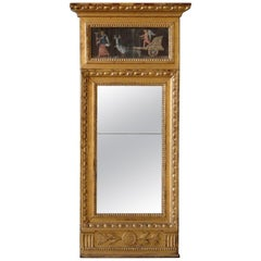 Late Gustavian Mirror with Painting on Paper Late 18th-Early 19th Century
