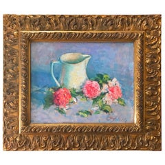Late Impressionist Still Life Oil Painting, Pitcher with Peonies, Signed