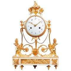 19th Century Late Louis XVI Ormolu and White Marble Striking Mantel Clock