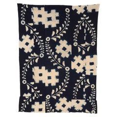 Late Meiji Japanese Shibori Indigo Futonji Futon Cover