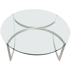 Late Mid-Century Modern 1970s Stainless Steel Round Glass Top Coffee Table