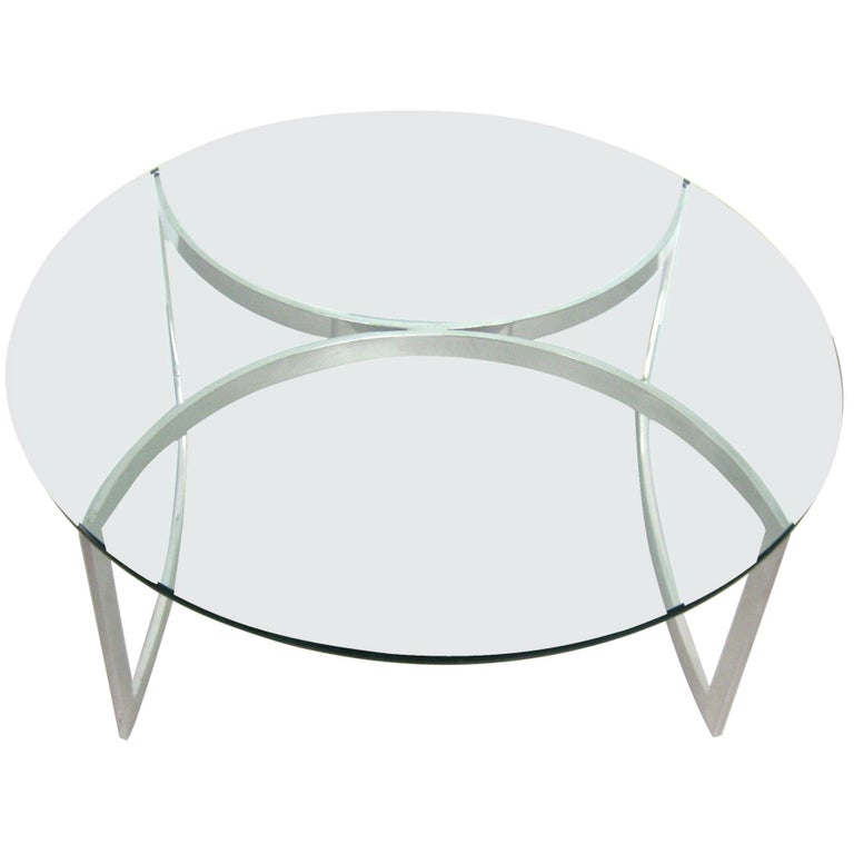 Late Mid Century Modern 1970s Stainless, Round Glass And Stainless Steel Coffee Table
