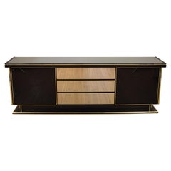 Late Mid-Century Modern Italian Black Lacquered and Brass Sideboard, circa 1980