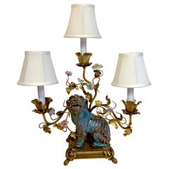Late Qing Chinese Export Fu Dog Mounted with French Bronze Mounts as a Lamp