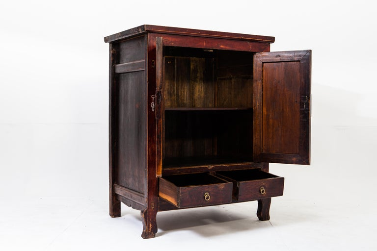 Chinese Late-Qing Dynasty Cabinet with Two Drawers and Two Doors For Sale