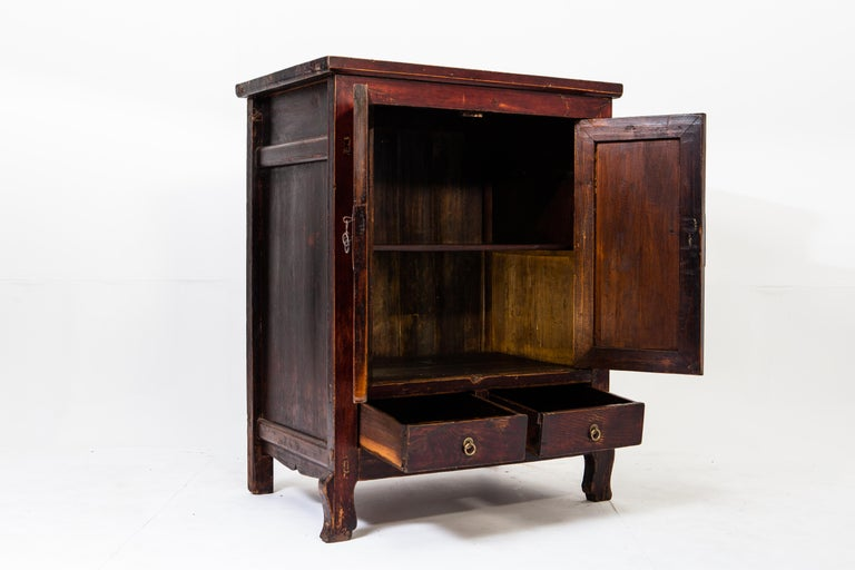Late-Qing Dynasty Cabinet with Two Drawers and Two Doors In Good Condition For Sale In Chicago, IL