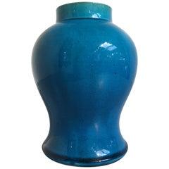 Late Qing Dynasty Chinese Turquoise Glazed Baluster Vase, circa 1900