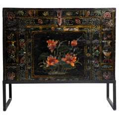 Late Qing Dynasty Storage Chest with Painting and Metal Base