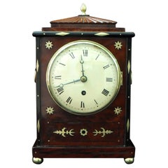 Late Regency Mahogany and Brass Inlaid Timepiece Bracket Clock