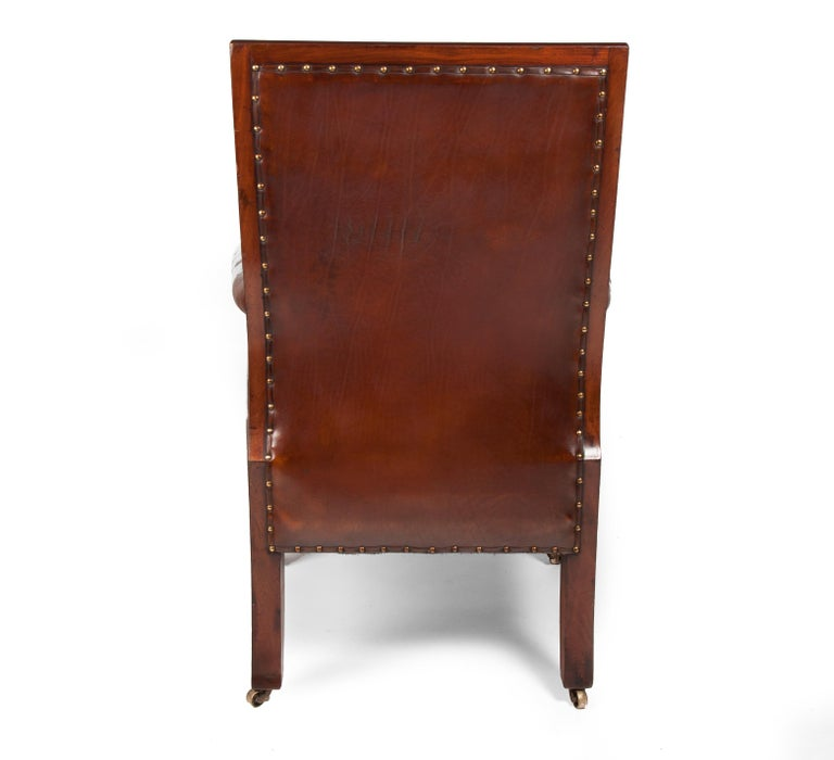 Late Regency Mahogany Armchair of Neoclassical Design with Leather Upholstery For Sale 5