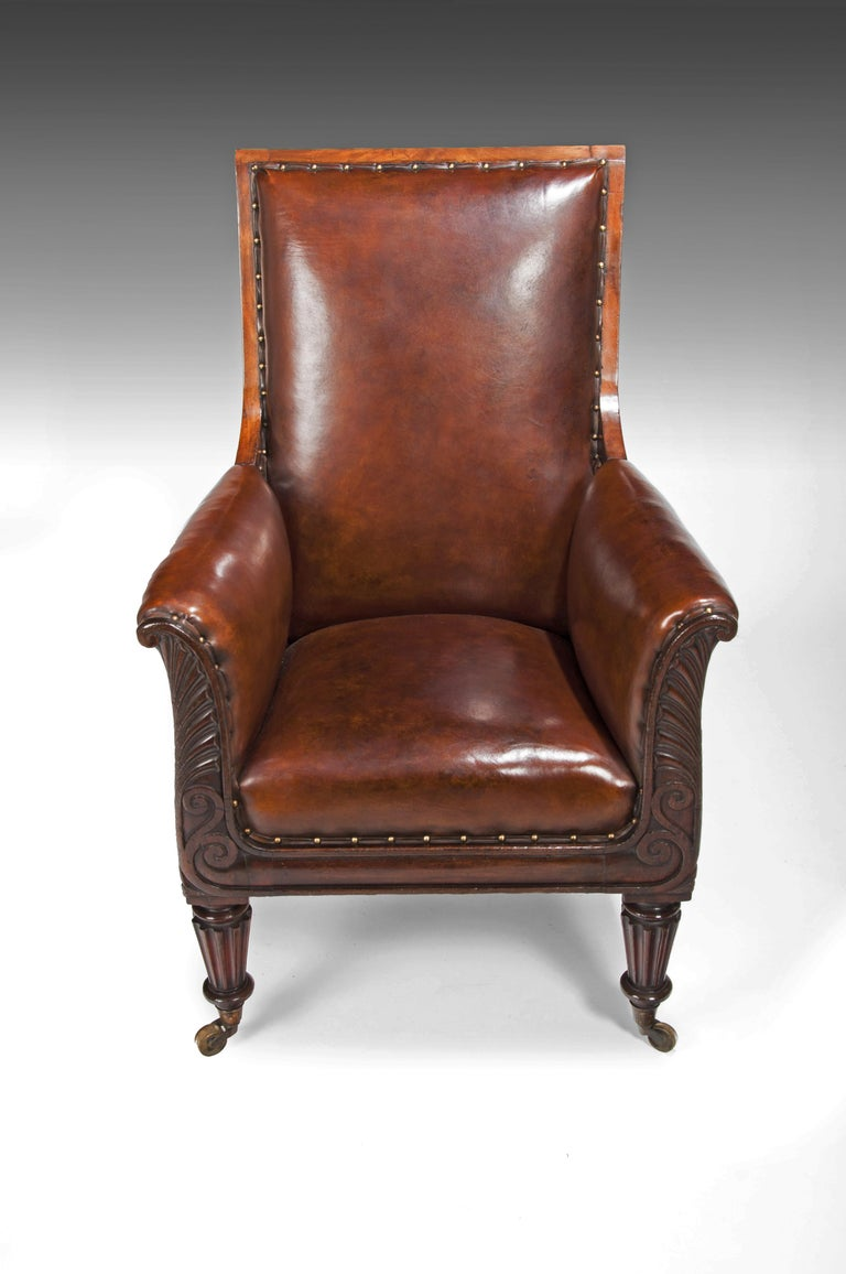 19th Century Late Regency Mahogany Armchair of Neoclassical Design with Leather Upholstery For Sale