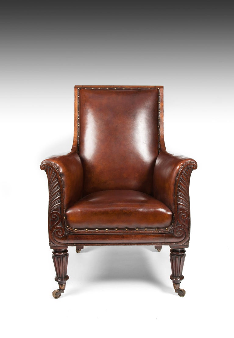 Late Regency Mahogany Armchair of Neoclassical Design with Leather Upholstery For Sale 1