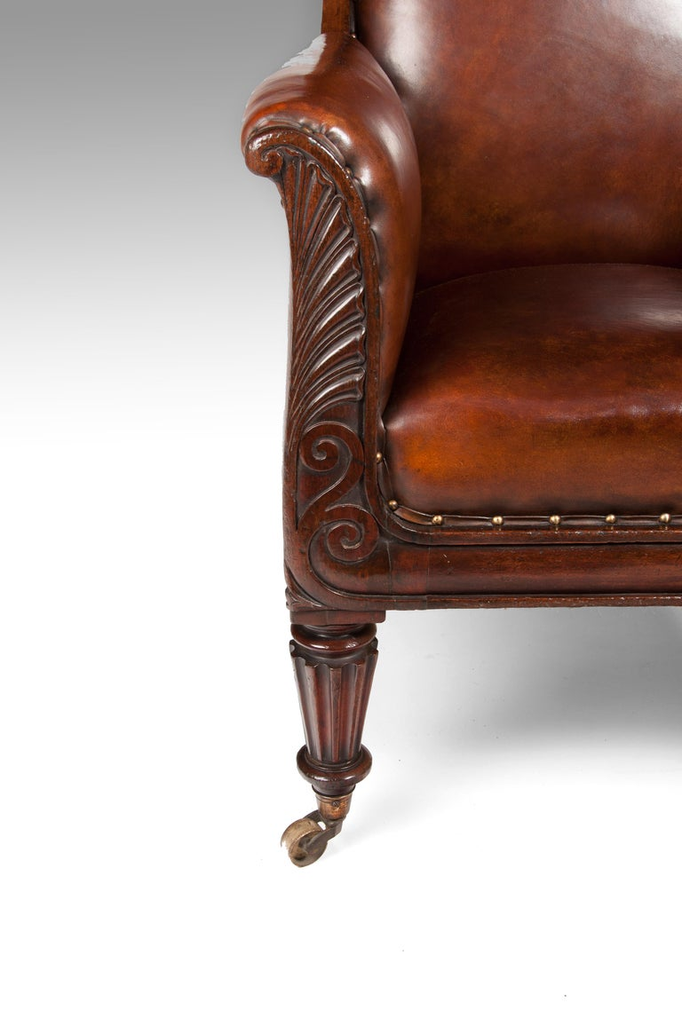 Late Regency Mahogany Armchair of Neoclassical Design with Leather Upholstery For Sale 2