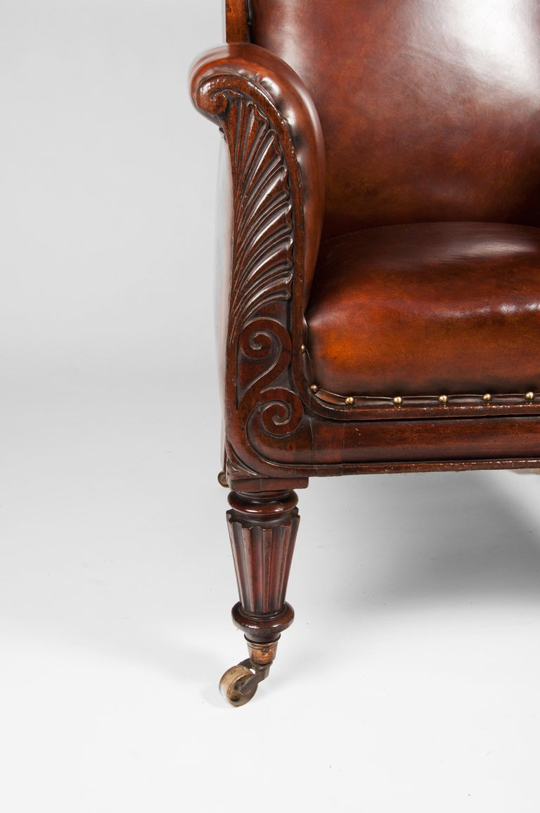 Late Regency Mahogany Armchair of Neoclassical Design with Leather Upholstery For Sale 3
