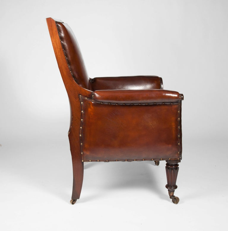 Late Regency Mahogany Armchair of Neoclassical Design with Leather Upholstery For Sale 4