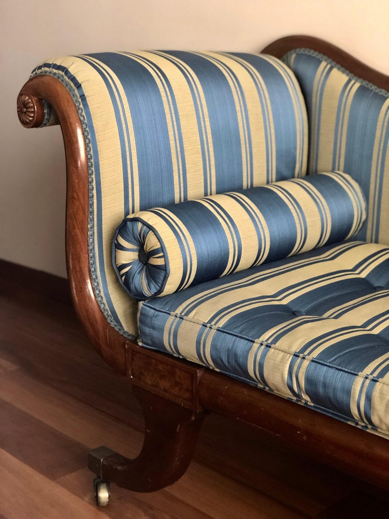 English Late Regency Mahogany Scroll End Sofa in Blue Striped Fabric, England For Sale