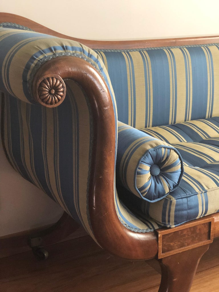 Late Regency Mahogany Scroll End Sofa in Blue Striped Fabric, England In Good Condition For Sale In London, GB