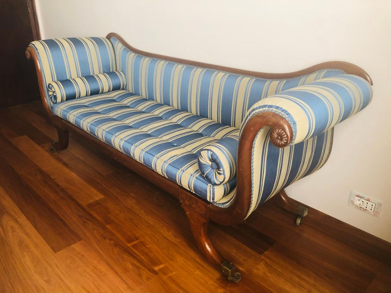 19th Century Late Regency Mahogany Scroll End Sofa in Blue Striped Fabric, England For Sale