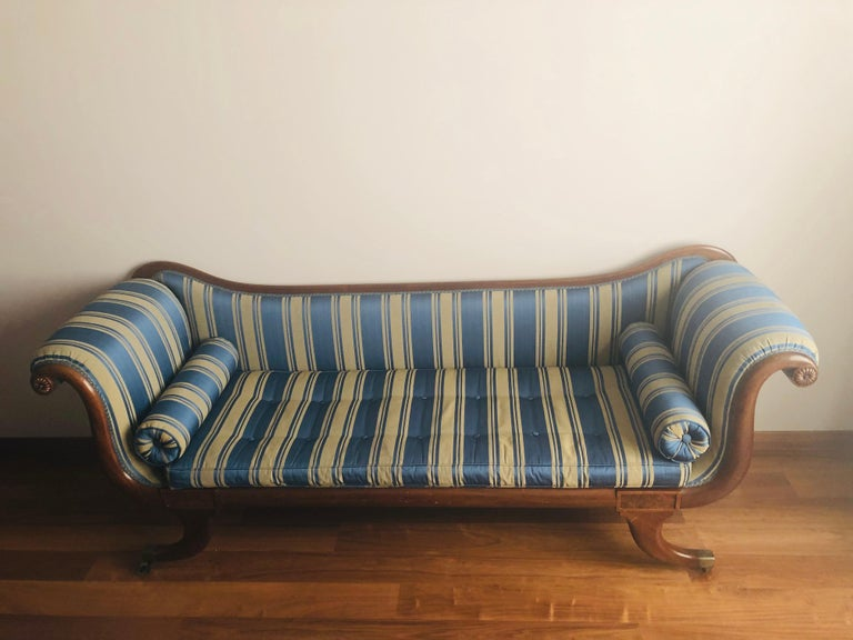 Late Regency Mahogany Scroll End Sofa in Blue Striped Fabric, England For Sale 2