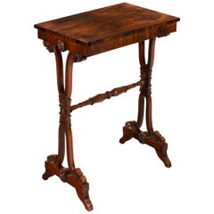 Late Regency Period George IV Figured Walnut Occasional Side Table