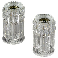 Späte Regency Periode, Paar George IV Glasschliff Kerzenleuchter