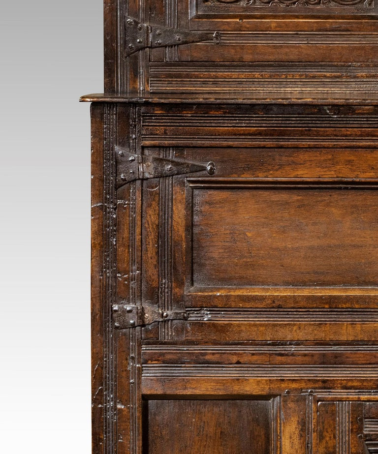 Late 17th Century William and Mary Westmorland Carved Oak Court Cupboard For Sale 3