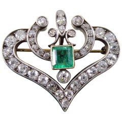 Late Victorian 1.0 Carat Emerald and 2.78 Carat Diamond Pendant or Brooch