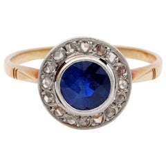 Late Victorian 1.15 Carat Natural Sapphire Rose Cut Diamond Target Ring