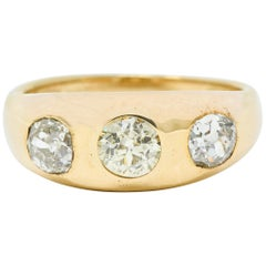 Late Victorian 1.26 Carat Diamond 14 Karat Gold Gypsy Band Ring