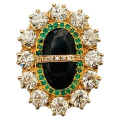 Late Victorian 14 Karat Yellow Gold, Diamond, Onyx and Emerald Oval Ladies Ring