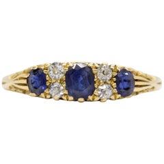 Late Victorian 15 Karat Gold Old Cut Diamond and Sapphire Dress Ring