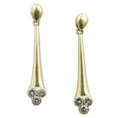 Late Victorian 18 Carat Yellow Gold Diamond Drop Earrings