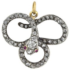Late Victorian 18 Karat and Sterling Old Rose Cut Diamond Snake Pin/Pendant
