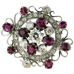 Late Victorian 18 Karat White Gold Ladies Brooch with Diamonds and Rubies, 1890s