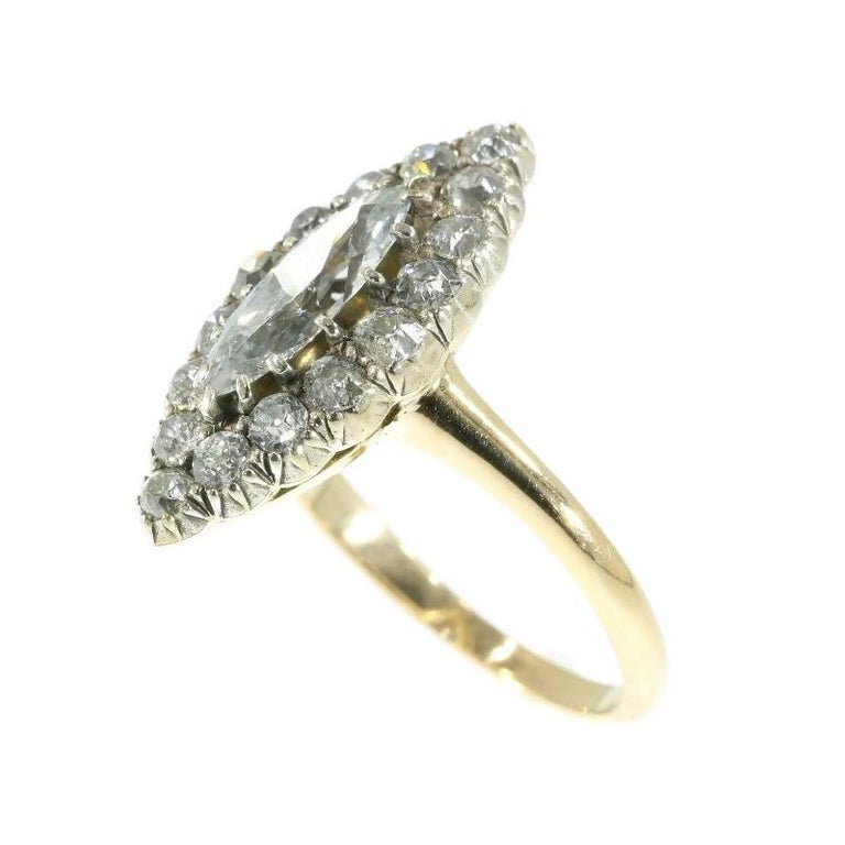 Women's Late Victorian 1.82 Carat Diamond Gold Marquise Engagement Ring, 1880s For Sale