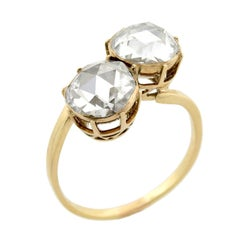 """Late Victorian 18kt 2.50 Total Carat Rose Cut Diamond """"Moi et Toi"""" Bypass Ring"""