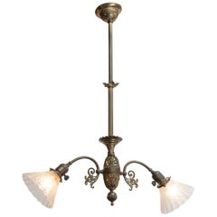 Late Victorian 2-Arm Chandelier with Deep Etched Glass Shades, circa 1900