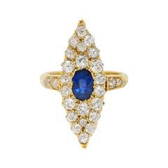 Late Victorian 2.08 Carats Sapphire Diamond 18 Karat Gold Navette Cluster Ring