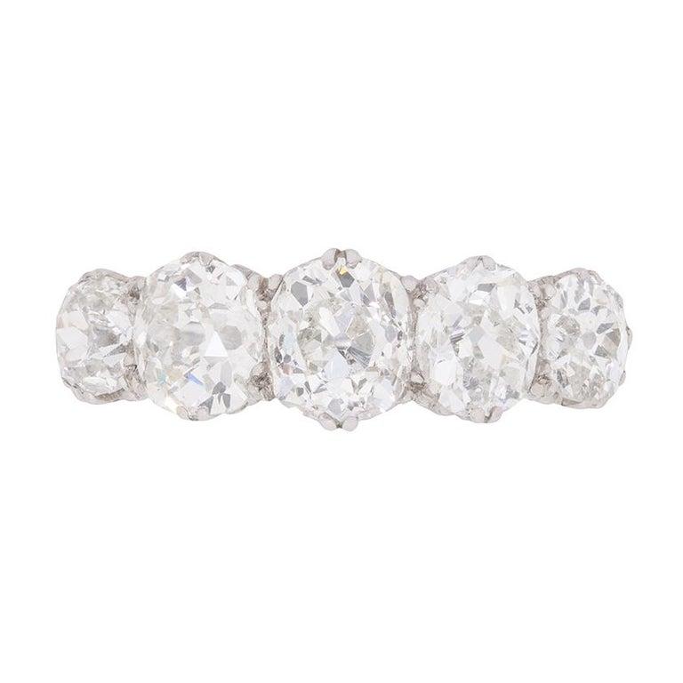 f702cd17f9ce6 Late Victorian 3.50 Carat Old Cushion Cut Diamond Five-Stone Ring, circa  1900s