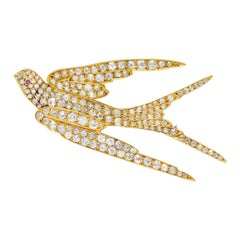 Late Victorian 6.45 Carats Diamond 18 Karat Gold Swallow Brooch