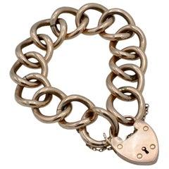 Late Victorian 9 Carat Rose Gold Heart Lock Bracelet