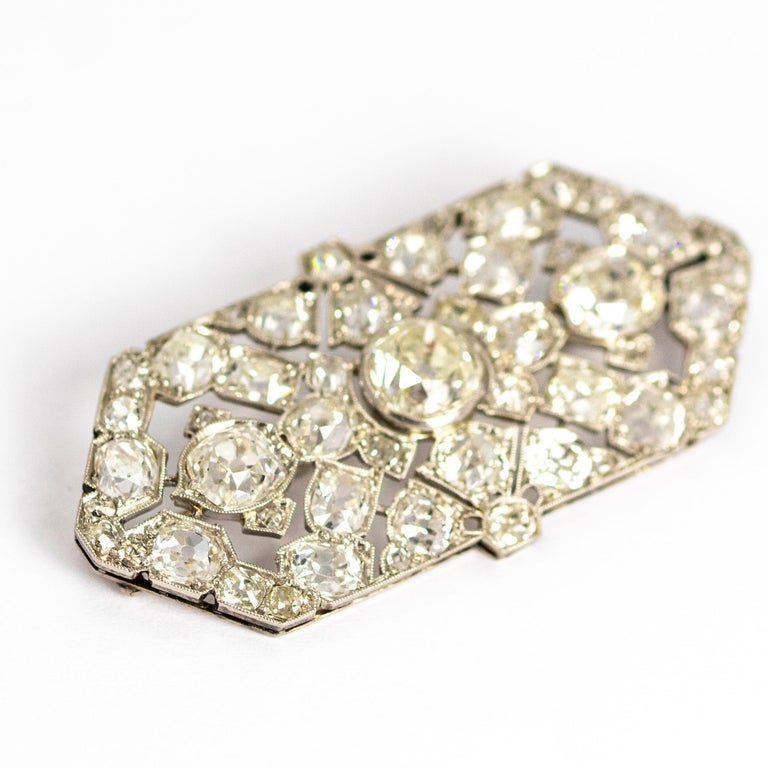 Old Mine Cut Late Victorian 9.70 Carat Diamond and Platinum Brooch For Sale