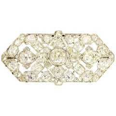 Late Victorian 9.70 Carat Diamond and Platinum Brooch