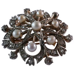 Late Victorian 9ct Rose & White Gold Pearl & Diamond Snow Flake Pendant/ Brooch