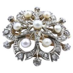 Late Victorian 9ct Rose & White Gold Pearl & Diamond Snow Flake Pendant/ Brooch