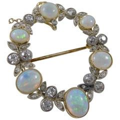 Late Victorian and Opal Diamond Hoop Brooch