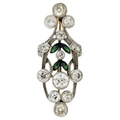 Late Victorian Antique Diamond Enamel Gold Silver-Topped Pin Brooch