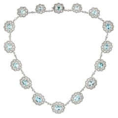 Late Victorian Aquamarine and Diamond Cluster Necklace