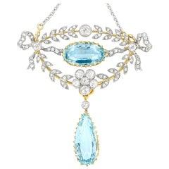 Late Victorian Aquamarine and Diamond Laurel Brooch/Pendant